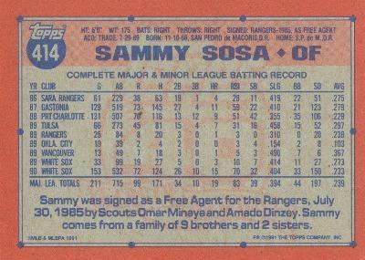 Sosa - 1991 Back
