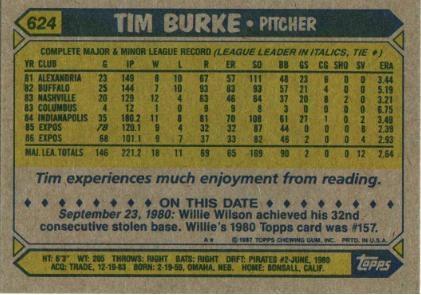 Tim Burke back