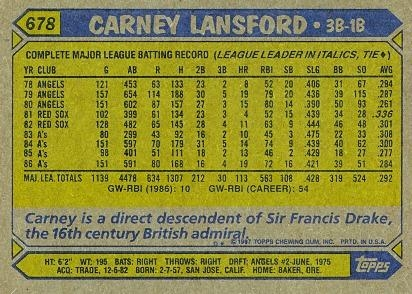 carney lansford 1987 BACK as